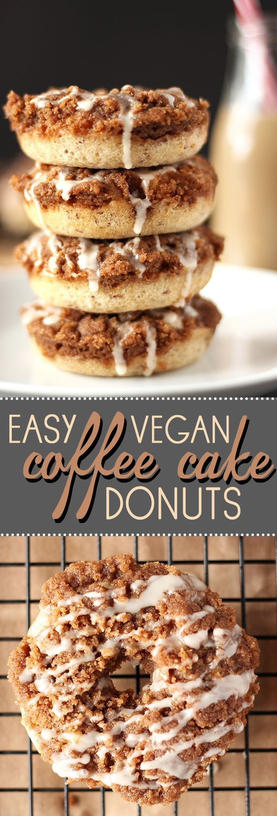 Coffee cake and doughnuts collide in these amazing vegan treats from food blog Sweet Like Cocoa.