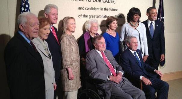 From left: Jimmy Carter, Rosalynn Carter, Bill Clinton, Hillary Clinton, George H.W. Bush, Barbara Bush, Laura Bush, George W. Bush, Michelle Obama and Barack Obama before the George W. Bush Library dedication.    (Photo: The Bush Center Twitter)
