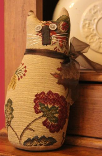 Primitive Cat Shelf Sitter , Handmade from luxury upholstery fabrics #2
