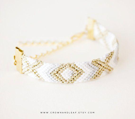 Muted Grey / XO / Gold Chain Friendship Bracelet / Woven Bracelet / Aztec Bracelet / Gold Chain Bracelet / Braided Bracelet / Bridesmaid