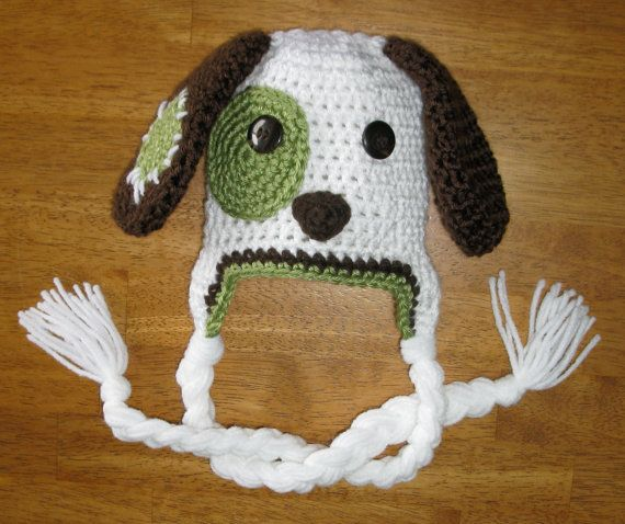 PUPPY HAT. Made this pattern for my coworkers son. eye and ear patch coordinated to match his winter coat. Nat