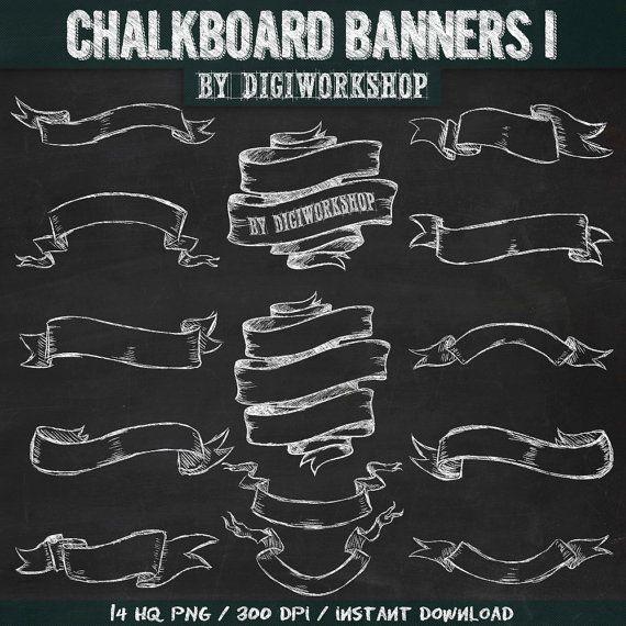 """Chalkboard banners clipart """"Chalkboard Banners I"""" clip art with hand drawn chalkboard banners, chalkboard ribbons + 2 chalkboard background"""