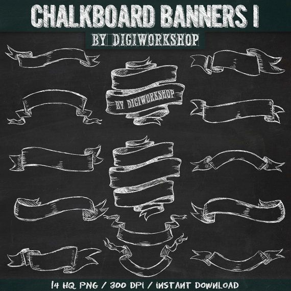 "Chalkboard banners clipart  ""Chalkboard Banners I"" clip art with hand drawn chalkboard banners, chalkboard ribbons + 2 chalkboard background"