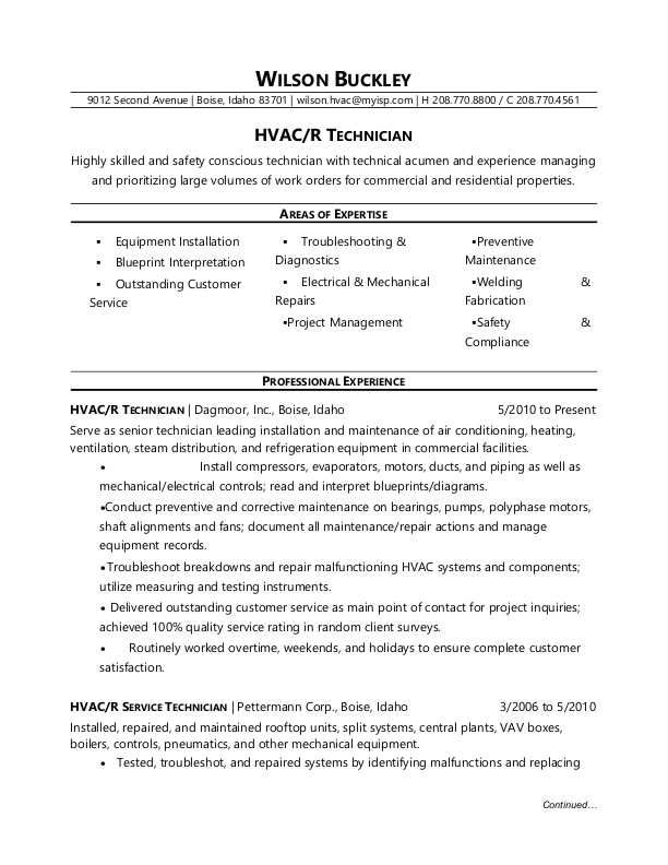 sample resume of air conditioning technician