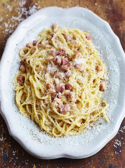 "Jamie Oliver - Spaghetti Carbonara ""You don't need many ingredients to make a fantastic carbonara and, done properly, it's a thing of beauty."""