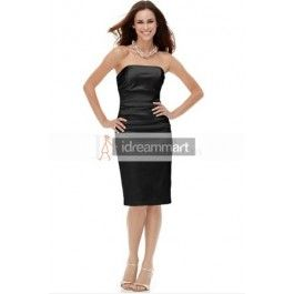 This dress is so beautiful. The price is also right! Strapless Black Satin Sheath Dress for Mature Woman