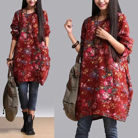 Loose Fitting Thick Cotton Dress Blouse for Women by deboy2000