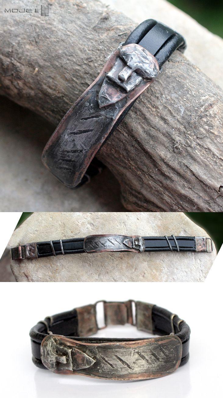 Oblicze Świętowita, bransoleta męska / Svetovid Face, men's bracelet. Moje MW