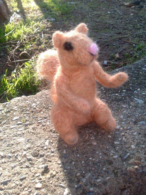 handmade needle felted little squirrel miniature by Kunuli on Etsy