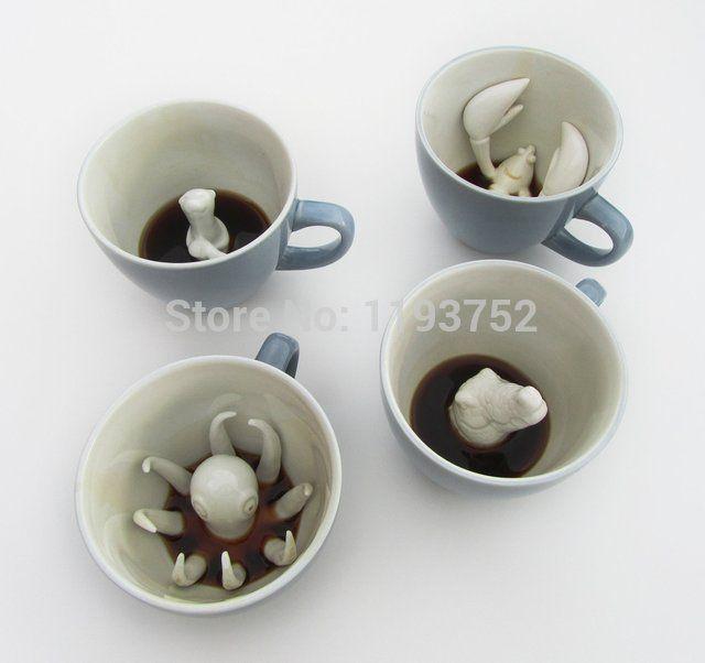Бесплатная доставка керамические скрытые животных кружки кофейные чашки с хвостами-унисекс существо кружки скрытые существа сложное дело