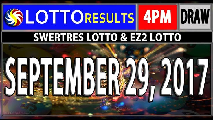 PCSO 4PM LOTTO RESULTS TODAY | SEPTEMBER 29, 2017 (SWERTRES & EZ2 LOTTO)