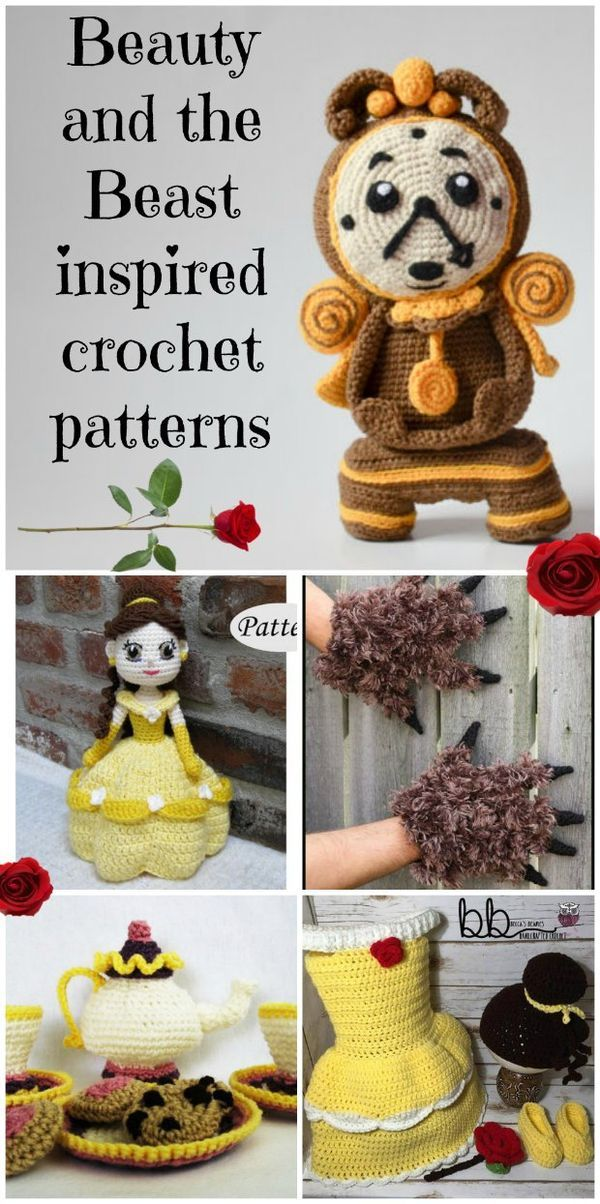 Crochet patterns inspired by the Beauty and the Beast Disney movie