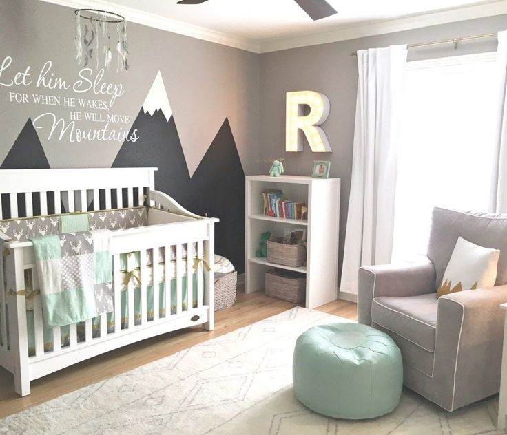 Rocky Mountain Nursery Retreat  with custom mountain mural and all.