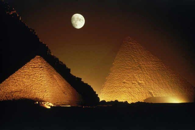 Dreiecke, Dark, Pyramiden, Wüsten, Giza