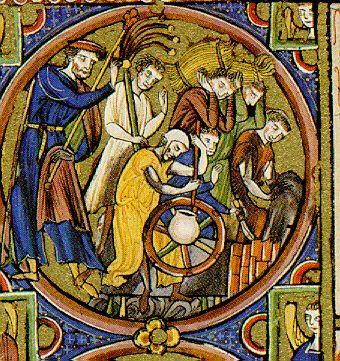 Potter's wheel, Bible Moralisée Codex Vindobonensis 2554, first half 13th century.