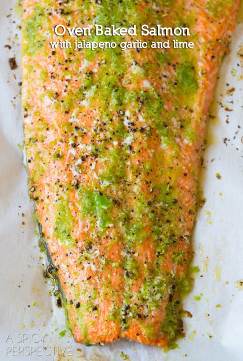 Spicy Garlic Lime Oven Baked Salmon - uses grated jalapeño, what a great idea to get the flavor into every bite