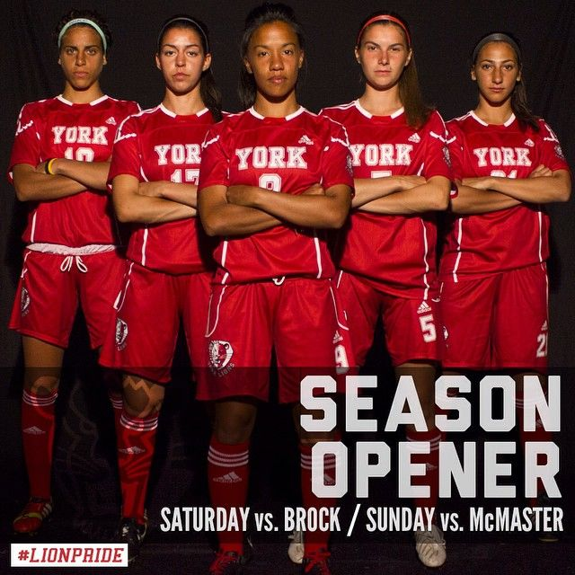 The season starts this weekend! Both games start at 1pm at the stadium. Be there for the t-shirt toss at halftime! #yorku #lionpride #yorklions #opener #soccer #footy