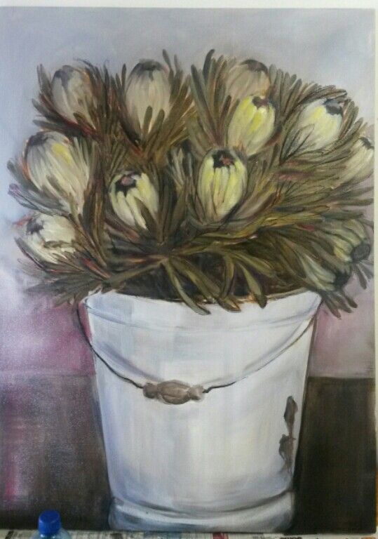 Proteas in a bucket - oil on canvas - Melissa Von Brughan