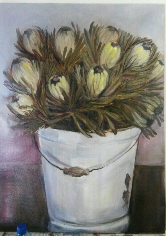 Proteas in a bucket - oil on canvas - Melissa Von Brughan
