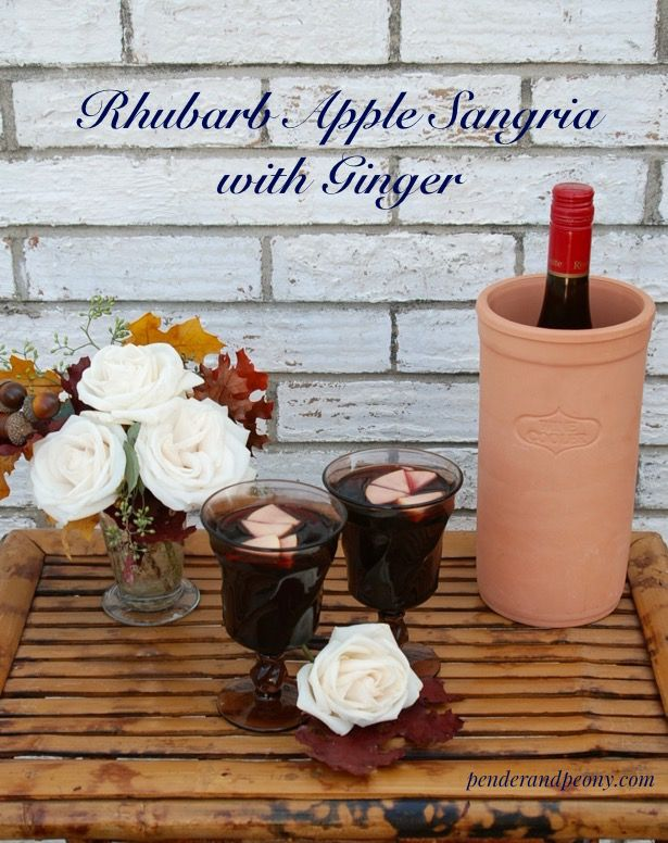 Looking for a quick and easy sangria recipe? Try this autumn sangria with rhubarb, apple, ginger, and red wine. Click on through to get the recipe.