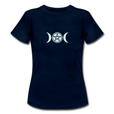 The pentacle represents the integration of body and spirit, and the spiritual mastery of the four elements. The triple Goddess (Moon) represents the feminine polarity of the universe.