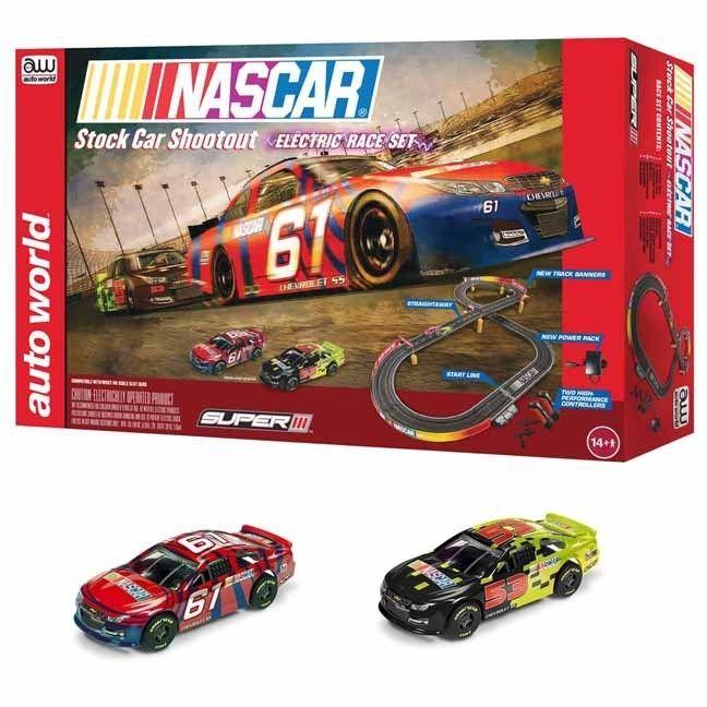 Auto World SRS314 HO Scale NASCAR 10' Stock Car Shootout Slot Car / Track Set   eBay