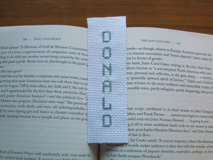 Boy name bookmark  Donald Celtic green white handmade handcrafted hand sewn baptism Christmas birthday graduation book by Allisonscsc on Etsy