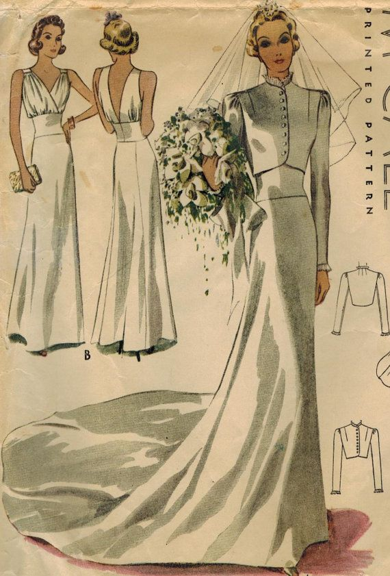 RESERVED 1930s McCall 9784 Vintage Sewing Pattern Misses Bridal or Evening Gown…