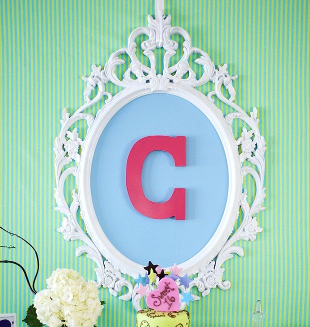 Make this monogrammed wall hanging for party decor or a child's bedroom.