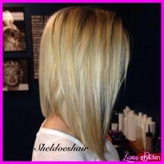 nice Long angled bob haircut back view