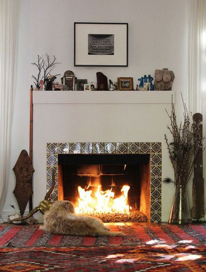 Great use of deco tiles to elevate the fireplace. Rug and dog even make it better <3 <3 #decotiles