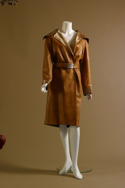 CHANEL by Karl Lagerfeld, Fawn-colored lambskin and gold lurex coat, circa 1990