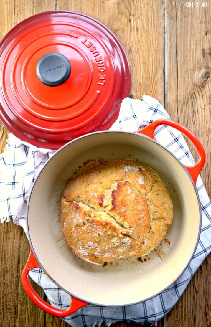 EASY Rosemary Sea Salt Dutch Oven Bread! Crusty Bread made in a Dutch Oven. The only homemade bread recipe you'll ever need!   The Cookie Rookie!