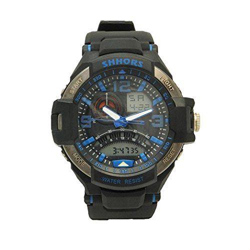 Shhors Black Band Blue Letter Orange Light Meters Design Date Window Multi Function Digital Analog Hybrid Watch Pavel Time