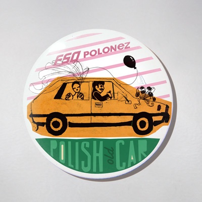 Fridge Magnet - Old Polish Car - Polonez. The colourful souvenir from Poland for your fridge or magnetic board. $10 zł.