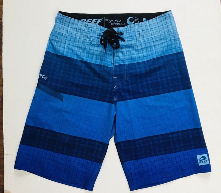 Reef Board Shorts Men's 30 Blue Graphic Swim Trunks Surf Surfing  | eBay