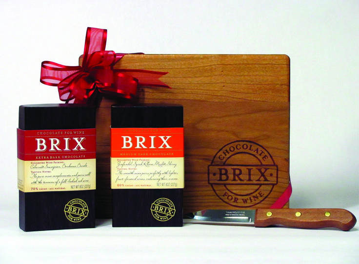 Brix Cutting Board Gift Set – 2 – 8oz Bars  This beautifully packaged gift set includes 2 8oz bars of the Brix Chocolate – Extra Dark and Medium Dark, along with a solid cherry wood cutting board and matching knife. All you need is the wine!
