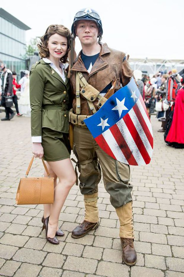 Captain America and Peggy Carter from Marvel's Captain America.