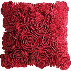 felt roses: Red Pillows, Rose Pillows, Pier 1 Important, Flowers Pillows, Red Roses, Felt Roses, Throw Pillows, Couch Pillows, Pretty Pillows