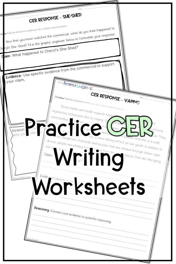 Claim Evidence Reasoning Science Worksheet Cer In 2020 Science Student Ela Skills Science Worksheets