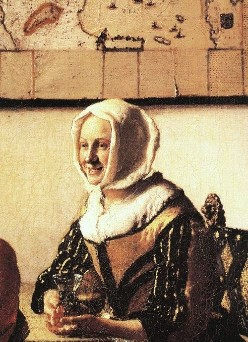 """Detail from Vermeer's """"Officer and Laughing Girl"""", c.1657"""