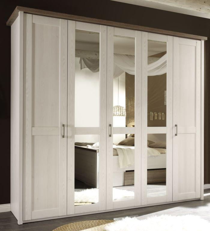 Luxury Kleiderschrank LUCA t rig mit Spiegel der Kleiderschrank ist in Bereiche unterteilt Der Kleiderschrank ist in Abteile eingeteilt im mittleren