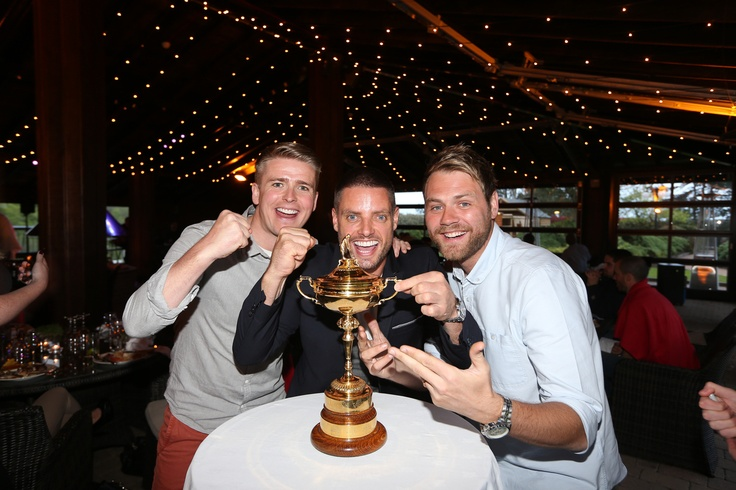 Team Ireland players Brian Ormond, Keith Duffy & Brian Mcfadden with the Ryder Cup.