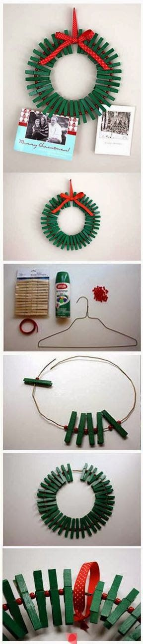 Clothespin Wreath for Christmas Cards or gift cards as teachers gift