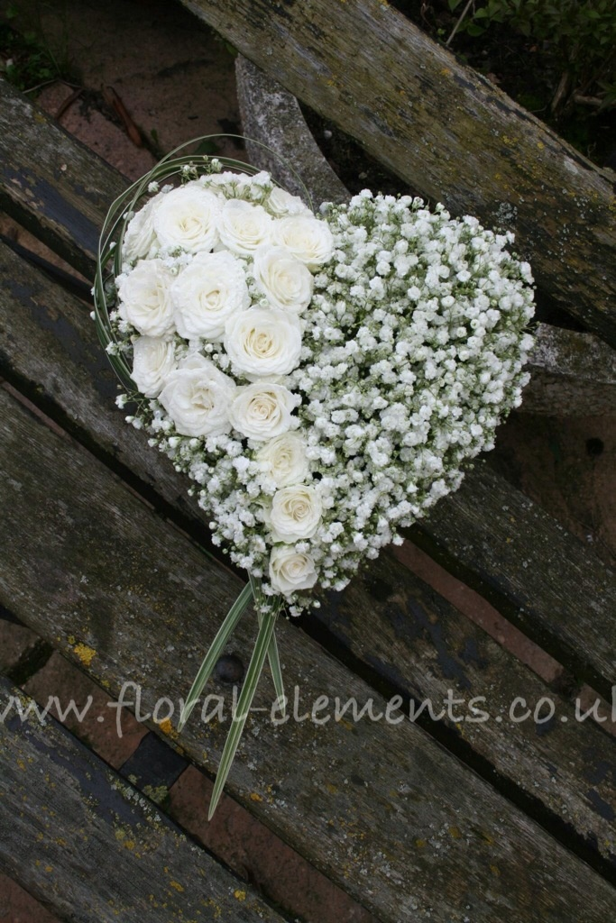 Romantic heart wedding bouquet with white Gypsophila and roses www.floral-elements.co.uk