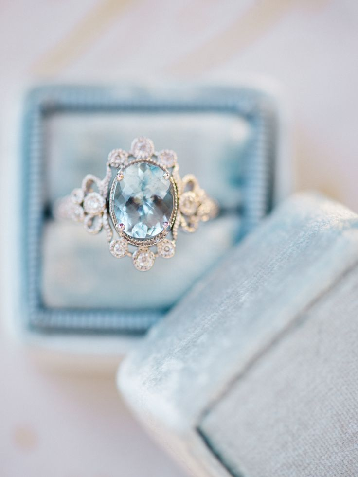 Like holding the sea in your hand...Sophie aquamarine engagement ring by Claire Pettibone + Trumpet & Horn, Renee Hollingshead Photography, Lindsay Marie Design http://www.trumpetandhorn.com/sophie.html