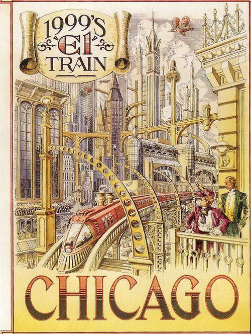 """""""1999's 'El' Train"""" - Chicago  from retro_futurism  via hungryghoast"""