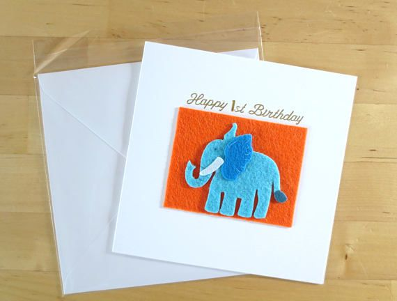 Felt animal cards Children Birthday Card Children animal