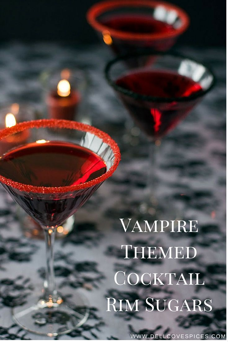 Vampire themed cocktail rim sugars - in blood red and midnight black. Available in bulk. By Dell Cove Spice Co., http://www.dellcovespices.com