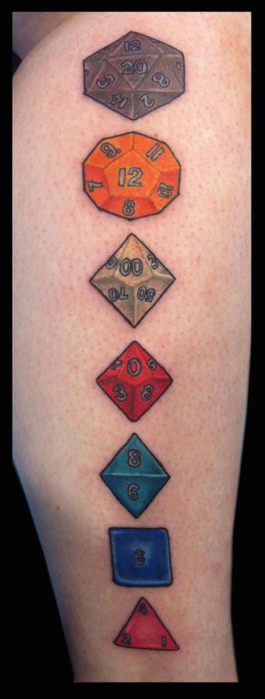 Multi-sided dice tattooed by Jude at Damask Tattooo in Seattle, WA  dice tattoo, gamer tattoo, dungeons and dragons tattoo, sided die tattoo, sided dice tattoo, role playing tattoo